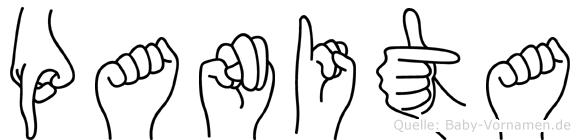 Panita im Fingeralphabet der Deutschen Gebärdensprache