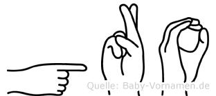 Gro im Fingeralphabet der Deutschen Gebärdensprache