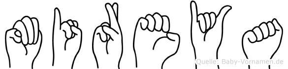 Mireya im Fingeralphabet der Deutschen Gebärdensprache