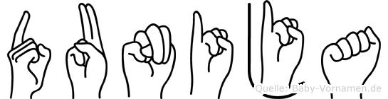 Dunija im Fingeralphabet der Deutschen Gebärdensprache