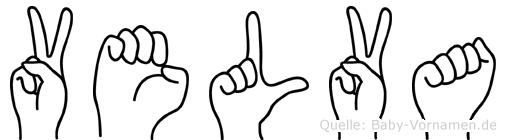 Velva im Fingeralphabet der Deutschen Gebärdensprache