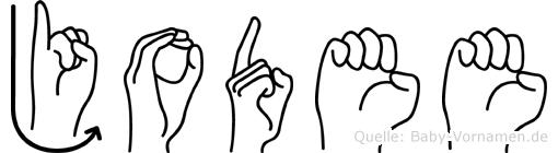 Jodee im Fingeralphabet der Deutschen Gebärdensprache