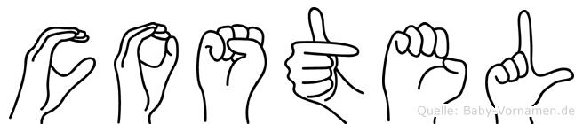 Costel im Fingeralphabet der Deutschen Gebärdensprache