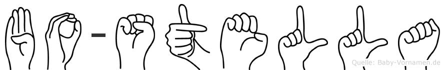 Bo-Stella im Fingeralphabet der Deutschen Gebärdensprache