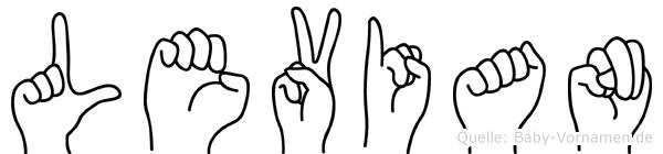 Levian im Fingeralphabet der Deutschen Gebärdensprache