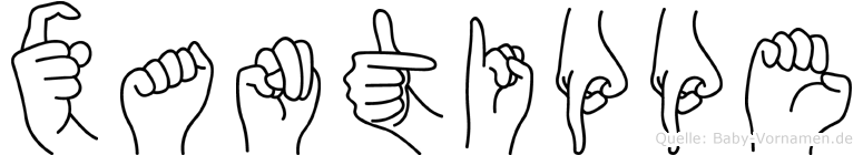 Xantippe im Fingeralphabet der Deutschen Gebärdensprache