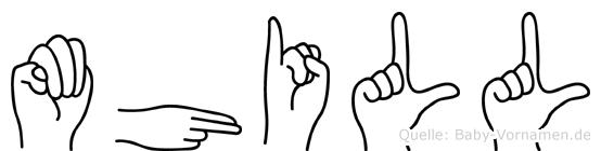 Mhill im Fingeralphabet der Deutschen Gebärdensprache
