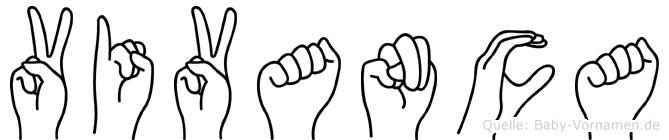 Vivanca im Fingeralphabet der Deutschen Gebärdensprache