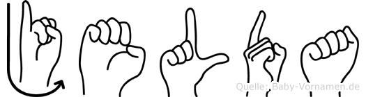 Jelda im Fingeralphabet der Deutschen Gebärdensprache