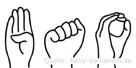 Bao im Fingeralphabet der Deutschen Gebärdensprache