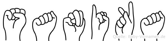 Sanika im Fingeralphabet der Deutschen Gebärdensprache
