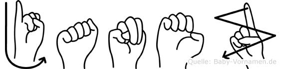 Janez im Fingeralphabet der Deutschen Gebärdensprache