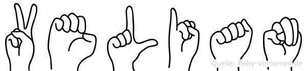 Velian im Fingeralphabet der Deutschen Gebärdensprache