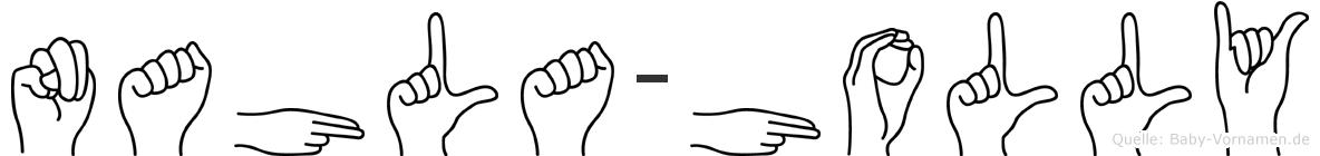 Nahla-Holly im Fingeralphabet der Deutschen Gebärdensprache