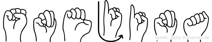 Snejina im Fingeralphabet der Deutschen Gebärdensprache