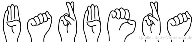 Barbera im Fingeralphabet der Deutschen Gebärdensprache