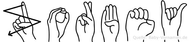 Zorbey im Fingeralphabet der Deutschen Gebärdensprache