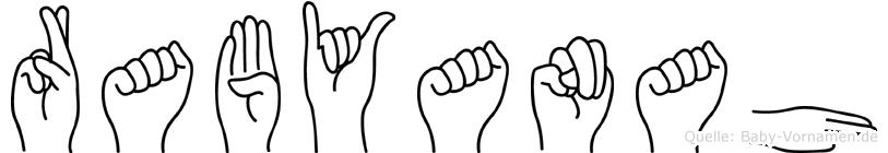 Rabyanah im Fingeralphabet der Deutschen Gebärdensprache