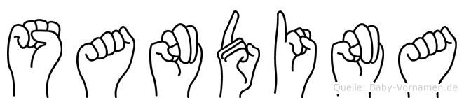 Sandina im Fingeralphabet der Deutschen Gebärdensprache