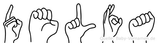 Delfa im Fingeralphabet der Deutschen Gebärdensprache
