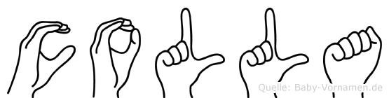 Colla im Fingeralphabet der Deutschen Gebärdensprache