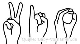 Vio im Fingeralphabet der Deutschen Gebärdensprache