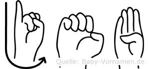 Jeb in Fingersprache für Gehörlose
