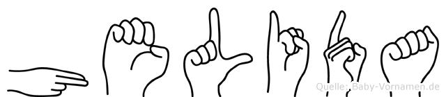 Helida im Fingeralphabet der Deutschen Gebärdensprache