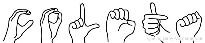 Coleta im Fingeralphabet der Deutschen Gebärdensprache