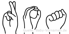 Roa in Fingersprache für Gehörlose