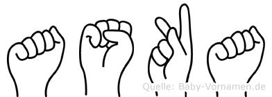 Aska in Fingersprache für Gehörlose