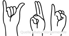 Yui im Fingeralphabet der Deutschen Gebärdensprache