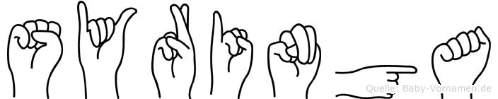 Syringa im Fingeralphabet der Deutschen Gebärdensprache