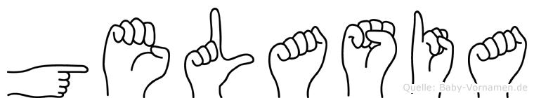 Gelasia im Fingeralphabet der Deutschen Gebärdensprache