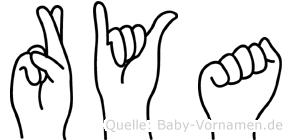 Rya im Fingeralphabet der Deutschen Gebärdensprache