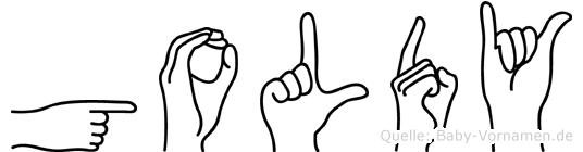 Goldy im Fingeralphabet der Deutschen Gebärdensprache