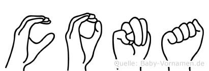 Cona in Fingersprache für Gehörlose