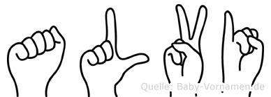Alvi im Fingeralphabet der Deutschen Gebärdensprache