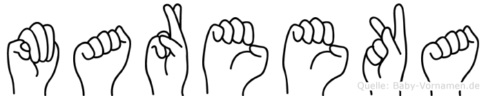 Mareeka im Fingeralphabet der Deutschen Gebärdensprache