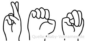 Ren im Fingeralphabet der Deutschen Gebärdensprache