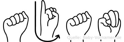 Ajan im Fingeralphabet der Deutschen Gebärdensprache