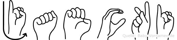 Jaecki im Fingeralphabet der Deutschen Gebärdensprache