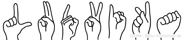 Ludvika im Fingeralphabet der Deutschen Gebärdensprache