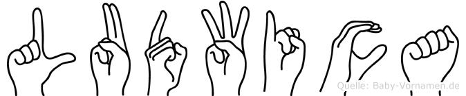 Ludwica im Fingeralphabet der Deutschen Gebärdensprache