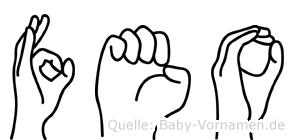 Feo im Fingeralphabet der Deutschen Gebärdensprache