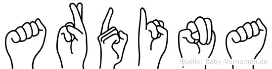 Ardina im Fingeralphabet der Deutschen Gebärdensprache