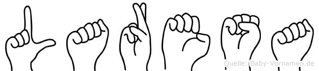 Laresa im Fingeralphabet der Deutschen Gebärdensprache