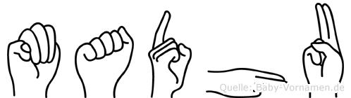 Madhu im Fingeralphabet der Deutschen Gebärdensprache