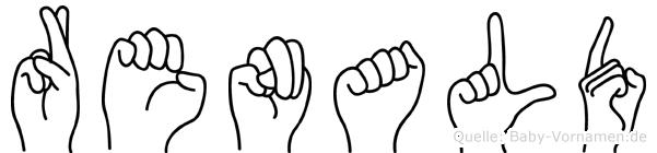 Renald im Fingeralphabet der Deutschen Gebärdensprache