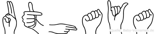 Uthaya im Fingeralphabet der Deutschen Gebärdensprache